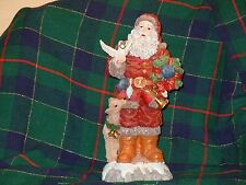 Christmas Santa Statue,Bringing Peace Dove And Small Deer, With Presents