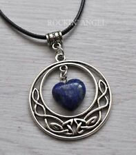 Antique Silver Pl Celtic Pendant Lapis Lazuli Heart Necklace Ladies GIft Reiki