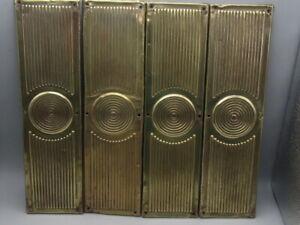 4 BRASS GENUINE ANTIQUE ART DECO BEEHIVE DOOR FINGER PLATES