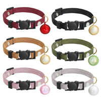 Velvet Cat Breakaway Collars with Safety Quick Release &Bell Gray Black Pink Red