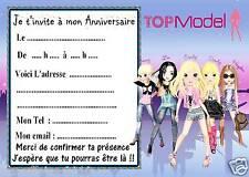 5 cartes invitations anniversaire  Top Model 01