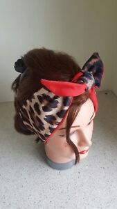 HEAD SCARF HAIR BAND leopard print tan lined red NECK TIE ROCKABILLY pin up