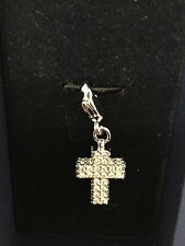 SWAROVSKI DOUBLE SIDED  CRYSTALS CHRISTIAN CROSS CHARM SWAN LOGO NEW IN BOX $50