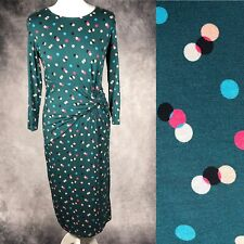 BODEN Green Polka Dot Spotted Jersey Dress Ruched Stretch Long Sleeve Size 12 R
