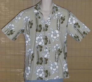 Pacific Legend Hawaiian Shirt Beige Green Blue Brown Medium