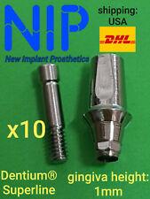 10 x Titanium Implant Straight Abutment for Dentium® Superline + screw