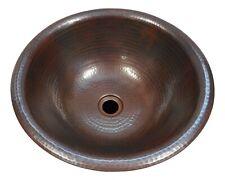 "15"" Round Copper Drop in Vanity Bathroom Sink"