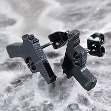2x Men's Women's Stainless Steel Ear Nail Stud Black Gun Earrings Punk Rock Cool