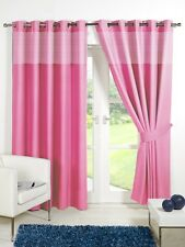Pink 46'' x 54'' Kids Gingham Blackout Eyelet / Ring Top Curtains With Tie Backs
