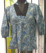 OASIS MULTI COLOURED PAISLEY PATTERNED 3/4 SLEEVED COTTON TOP - SIZE 10
