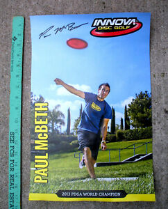 "Rare Paul McBeth 2013 PDGA Champion Poster, Innova, 17""x11"" New, Destroyer, Roc3"