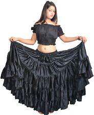 Wevez Polyester Spanish Flamenco Black ATS Belly Dance Skirt 25 Yard