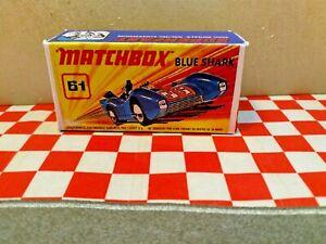 Matchbox Lesney Superfast No.61 Blue Shark EMPTY Repro Box  NO CAR