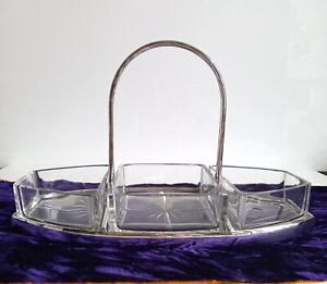 ANTIQUE HUKIN & HEATH SILVER PLATE CRADLE CUT GLASS HORS D'OEUVRE DISHES