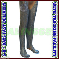 Chain Mail Legging Flat Riveted Solid Ring Medieval Chainmail Chausses Medium Sz