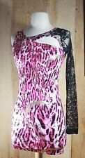 Canzone Pink and gold 80's retro Nightclub Mini Dress Lace Sleeve Size MEDIUM