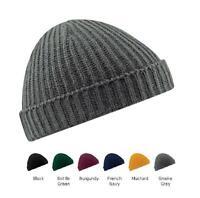 New Unisex Beechfield Retro Fashion Rooled Up Fisherman Trawler Knit Beanie Hat