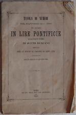 TAVOLA DI NUMERI LIRE PONTIFICIE SCUDI ROMANI CAMBIO CHANGE 1869 FINANZA