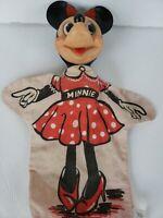 Vintage MINNIE MOUSE Hand Puppet Gund / Walt Disney Rubber Cloth (1950's-1960's)