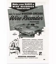1948 Webster Chicago Model 79 Wire Recorder Foundation Unit Vtg Print Ad
