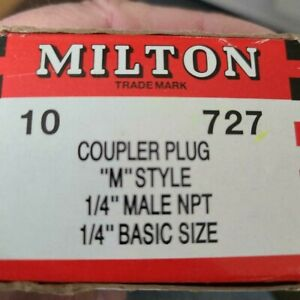 10 Milton Brand 727 M Style Air Hose Fittings 1/4 male NPT Coupler Plug