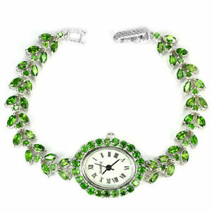 Watch Green Chrome Diopside Genuine Natural Gems Solid Sterling Silver 7 1/4 In