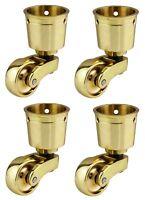 Solid Brass Castors Casters - Set of 4 - 28mm Wheel - Antique Furniture - UK