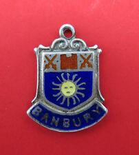 Vintage Sterling Silver Bracelet Charm Enamel Shield Banbury UK Travel 643g