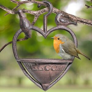 Cast Iron Heart Shape Decorative Hanging Robin Bird Feeder Seed & Nut Garden UK