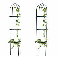 More details for 1.9m outdoor garden metal obelisk trellis climbing plant support frame set of 2