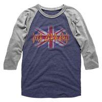 Def Leppard Vintage Union Jack Men's Raglan Shirt Long Sleeve Rock Band Merch