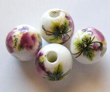 30pcs 10mm Round Porcelain/Ceramic Beads - White / Dark Magenta Pink Flowers
