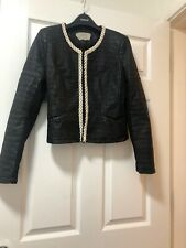 Zara Trafaluc Faux Leather Textured Jacket Embellished Size EUR medium