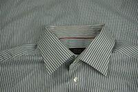 Eton Ganghester 1928 Gray Blue Striped 100% Cotton Dress Shirt Sz 17.5