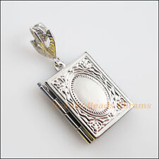 2Pc Dull Silver Plated Square Picture Locket Frame Charms Pendants 19x23mm