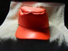 Vintage Bright Orange Leather Hunting Hat Cap Sno Cap.Large