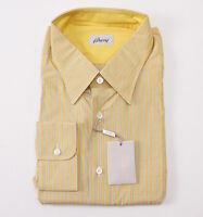 NWT $450 BRIONI Yellow-Blue Stripe Button-Front Cotton Shirt S (15 x 35)