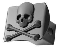 """100% Metal Skull Crossbones 3d Black Emblem Trailer Metal Hitch Cover Fits 2""""..."""