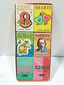 SIX DECKS WHITMAN'S PLAYING CARDS COMPLETE OLD MAID AUTHORS 1950S SET COLLECTION
