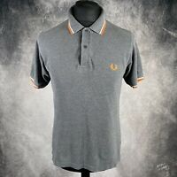 """FRED PERRY Grey Twin Tipped Polo Shirt Bright Orange & White 40"""" Chest Medium"""