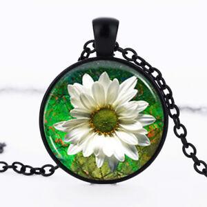 WHITE FLOWER photo dome Black Cabochon Glass Necklace chain Pendant