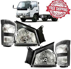 For 05 06 GMC W-Series W4500 Headlights W/ Corner Signal Light Set L R