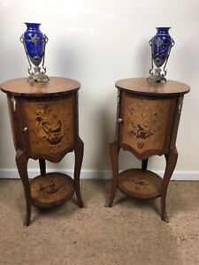 Stunning Pair Of French Bedside Table Drum Cabinet Nightstands