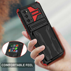 for samsung A22 A32 note 20 ultra shockproof hybrid armor card slots stand case