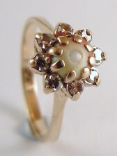 100% Genuine Vintage 10k Yellow Gold 0.2cts Natural Diamond & Pearl Ring Sz K