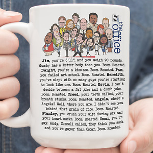 The Office Boom Roasted Jim Dwight Pam Meredith Kevin Funny Mug White 11Oz 15Oz