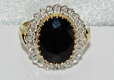 9ct Gold 6.00ct Sapphire & Diamond Huge Lady Diana Cluster Ring size P