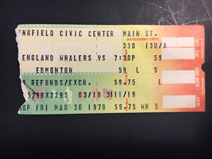 1979 Edmonton Oilers at New England Whalers WHA Used Ticket Stub Gretzky