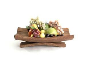 Oak fruit bowl - Wooden fruit bowl - Rustic Fruit bowl with curved stand