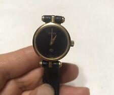 Authentic Gucci Vintage Old Gucci Wrist Watch Ladies Women Quartz Gold Black